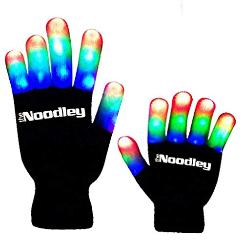 The Noodley Children LED Finger Light Gloves - Black/White Boys Toys & Kids Games -