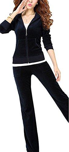 Forlisea-Womens-Leisure-Velour-Zipper-Up-2-Pieces-Sport-Tracksuit-Set-Sweatsuit