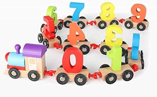 幼児早期教育パズルビルディングブロックのおもちゃ木製組み立て運搬デジタル小さな列車のおもちゃ