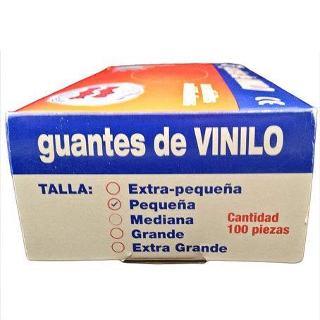Libre de LATEX y POLVO 100 Unidades por Caja Talla S Guantes Desechables no M/édicos de Vinilo