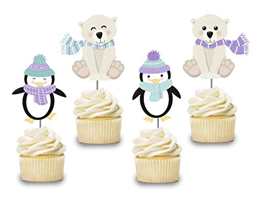 Wonderland Penguins - Penguin Cupcake Toppers 12 PCS, Cake Picks, Girl, Boy Baby Shower, Winter Wonderland Birthday Party Decorations Supplies, Polar Bear Themed ...