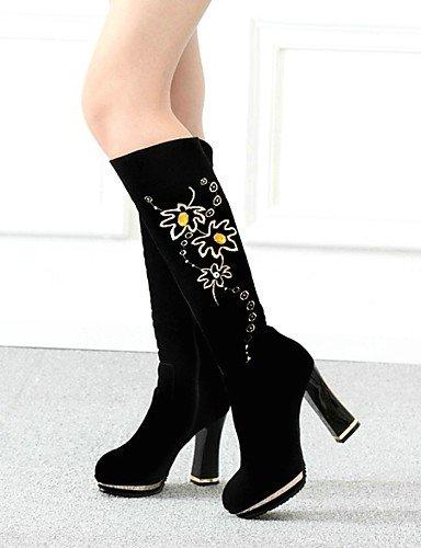 XZZ  Damenschuhe - Stiefel - - - Kleid   Lässig - Vlies - Blockabsatz - Plateau   Rundeschuh   Modische Stiefel - Schwarz B01L1GNK30 Sport- & Outdoorschuhe Am praktischsten 1ac0e0