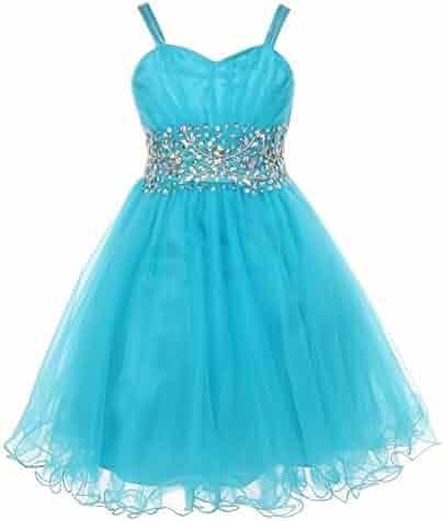 5ea7729bb0d Big Girls Jade Stone Encrusted Pleated Tulle Junior Bridesmaid Dress 8-16