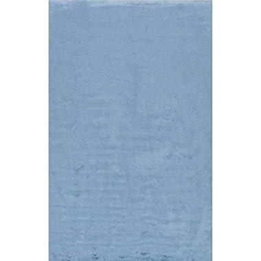 Faux Sheepskin Cloud Solid Soft and Plush Blue Shag Area Rugs, 5 Feet by 7 Feet (5' x 7')