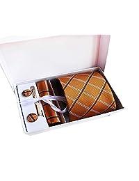 MENDENG Men's Orange Gold Plaid Formal Necktie Clip Pocket Square Cufflinks Set