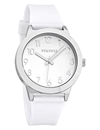 Ferenzi Women's | Fun White on White Watch with Silver-Tone Case and Gloss Strap | FZ15603