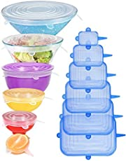 [12pack] Longzon Silicone Stretch Lids 6 Clear Round 6 Blue Rectangle, Magic Lids Reusable Food Covers for Bowls, Cups, Cans, Fit Different Sizes & Shapes of Container, Dishwasher & Freezer Safe