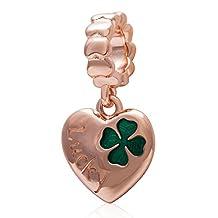 Amoony 925 Sterling Silver Pendant Rose Gold Lucky Clover Fits Pandora Bracelet