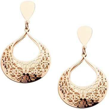 Women's Stainless Steel Rose Gold IP Flower Filigree Double Top Teardrop Earrings.