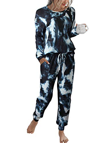 LOGENE Women's Tie Dye Print Pajamas Set Long Sleeve Tops with Pants Lounge Sets Two Piece Loungewear with Pockets