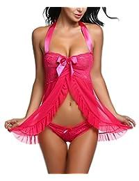 Avidlove Women Sexy Nightwear Halter Lace Strap Chemise Babydoll Lingerie Set
