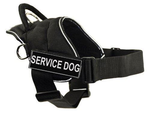Dean & Tyler DT Fun Works Cablaggio, Service Dog, Nero con Finiture Riflettenti, X-Large – Fits Girth Dimensione  86,4 cm a 119,4 cm