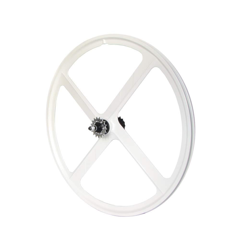 RIDDOX Laufradsatz Singlespeed Fixie 700C 28 Hinterrad mit Freilaufritzel – Leichtmetall - 4 Speichen – Weiß