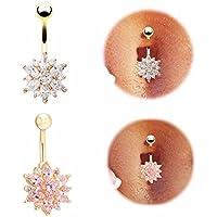2pcs Medical Steel Crystal Rhinestone press button ring Dangle navel piercing body jewelry tassel