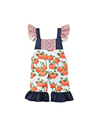 DRAGONHOO Toddler Baby Kids Girls Halloween Pumpkin Print Overall Jumpsuit Sister Clothes Little Girl Clothes