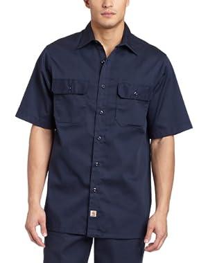 Men's Big & Tall Twill Short Sleeve Work Shirt Button Front