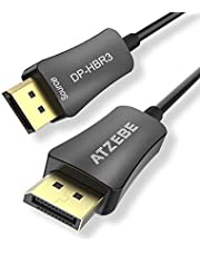 ATZEBE Câble DisplayPort en Fibre Optique, câble DP 1.4 Mâle vers Mâle Haute Vitesse 32Gbps, 8k@60HZ, 4K@140HZ