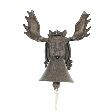NEW cast iron rustic MOOSE ELK w ANTLERS dinner BELL bar cabin or lodge decor item