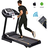 Fitness Folding Electric Jogging Treadmill with Smartphone APP Control, Walking Running Exercise Machine Incline Trainer Equipment Easy Assembly