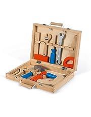 Janod - Brico'Kids J06481 skrzynka na narzędzia, drewniana dla dzieci, imitacja zabawek, 9 części, od 3 roku życia, J06481