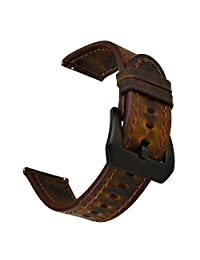 SSBRIGHT Watch Band - 22mm Genuine Leather Watch Strap for Samsung Gear S3 Frontier/Classic / Moto 360 2nd Gen 46mm, etc (Dark Brown)