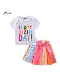 Kidsa 1-5T Baby Little Girls T-shirt + Rainbow Skirt Birthday Gift Outfits Set