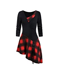 WILLTOO Womens Plaid Patchwork Strappy Asymmetrical Hem Skew Neck Ruched Lace Up Tunic Tops