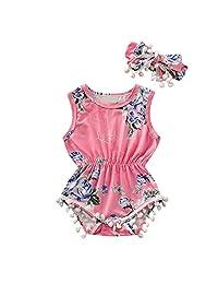 Baby Girls Tassels Print Romper with Bowknot Headband Summer Clothing Set