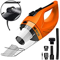 Wireless Car Vacuum Cleaner DC 12V 120W Wet Dry Auto Dustbuster Portable Handheld Auto Vacuum Cleaner Car 4000Pa Suction Car Hoover HEAP Filter&5Meters LED Light Car & Home Cleaner (Orange)