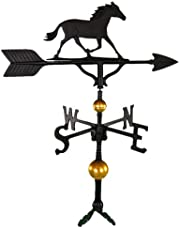Montague Metal Products 32-Inch Deluxe Weathervane with Satin Black Horse Ornament