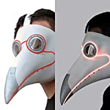PartyHop White Plague Doctor Mask Light up, LED