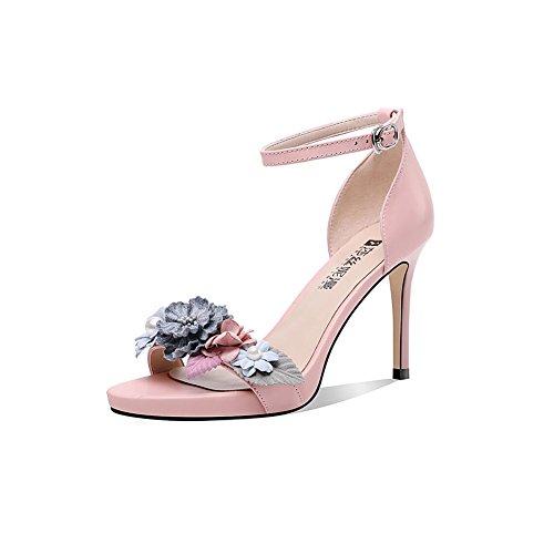 DALL Zapatos de Tacón Tacones Finos Zapatos De Mujer Zapatos De Tacón Alto Zapatillas Sandalias Punta Abierta 8cm De Alto (Color : Pink, Tamaño : EU 39/UK6/CN 39) Pink