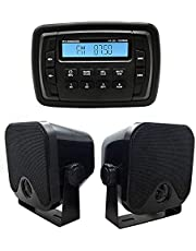 Herdio Waterproof UTV ATV Radio MP3 Audio Receiver with Bluetooth Music Marine Stereo Sound System + 4 Inches Marine Box Speakers(Black)