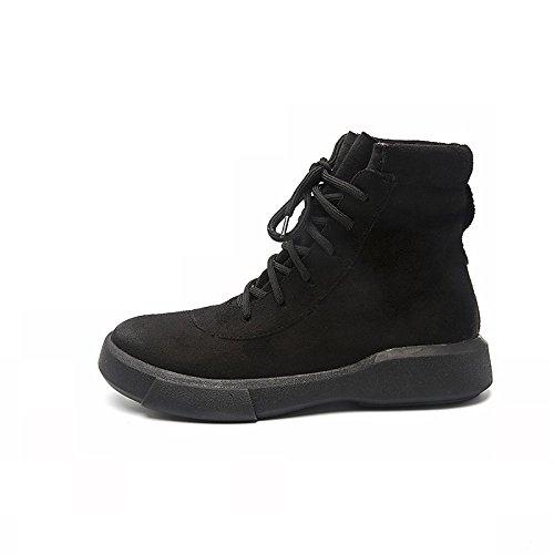 Black US7.5   EU38   UK5.5   CN38 Black US7.5   EU38   UK5.5   CN38 HSXZ Women's shoes PU Winter Snow Boots Boots Flat Round Toe for Casual Dress Almond Black
