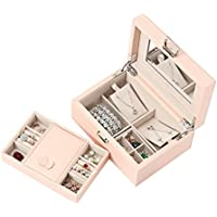 Vlando Pandora Jewelry Box, Jewelry Organizer and Storage with Mirror and Tray- Pink