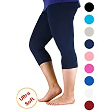 Passionate Adventure Premium Soft Light Comfy Fit Bamboo Capri Pants Under Dress Leggings for Women Regular and Plus Size