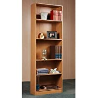 Bookcase 5 Shelf Easy Assembly, In Oak Or Black (Oak)