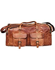 24 Inch Leather Duffel Bag Travel Gym Sports Overnight Weekend Cabin Holdall (24 inch)