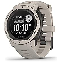 Garmin 010-02064-01 Instinct, Rugged Outdoor Watch with GPS, Features GLONASS and Galileo, Heart Rate Monitoring and 3-axis Compass, Tundra, 1.27