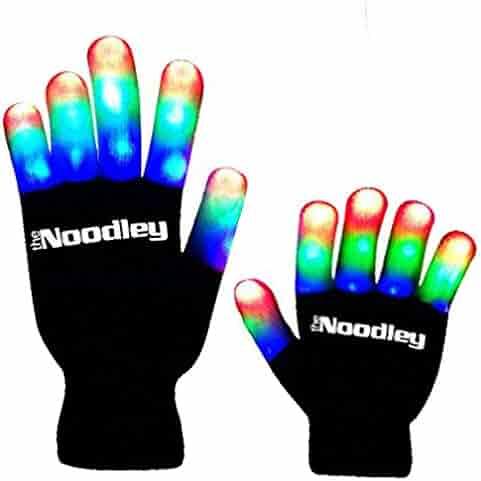 The Noodley Children LED Finger Light Gloves - Black/White Boys Toys & Kids Games