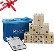 DRAROAD Giant Wooden Yard Dice Outdoor Game with Bonus Yardzee and Farkle Scoresheets and Carrying Bag for All