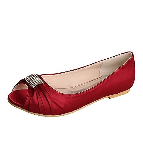 Wedopus MW1361 Rhinestones Wedding Peep Toe Women Ballet Flats Buckle Satin Bridal Shoes Size 12 Wine red