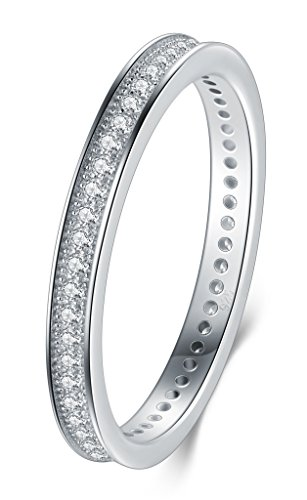 2MM 925 Sterling Silver Ring, Boruo Cubic Zirconia CZ Wedding Band Stackable Ring Size 8 (2 Mm Ring)