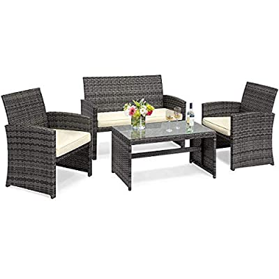 Goplus 4-Piece Rattan Patio Furniture Set Garden Lawn Pool Backyard Outdoor Sofa Wicker Conversation Set with Weather Resistant Cushions and Tempered Glass Tabletop
