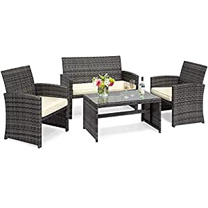 Goplus 4-Piece Rattan Patio Furniture Set Garden Lawn Pool Backyard Outdoor  Sofa Wicker Conversation Set with Weather Resistant Cushions and Tempered  ...