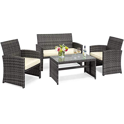 Goplus 4-Piece Rattan Patio Furniture Set Garden Lawn Pool Backyard Outdoor Sofa Wicker Conversation Set with Weather Resistant Cushions and Tempered Glass Tabletop (Mix Gray) (Assembled Fully Furniture Garden)