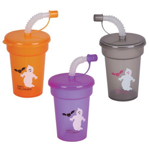 Dozen Assorted Halloween Design 6oz Sipper Cups W/Straws & Lids