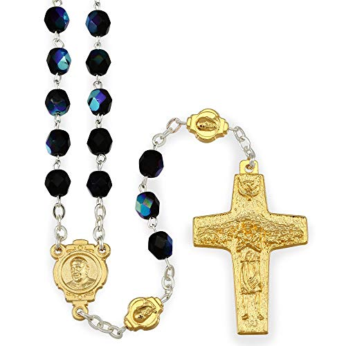 Rosario Gold Finish - Black Crystal Beads Rosary with Gold Finish Original Pope Francis Cross by Vedele