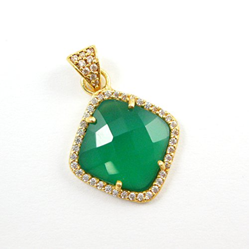 22K Gold plated Sterling Silver Pave Bezel Gemstone Pendant - Green Onyx Gemstone -Vermeil CZ Pave Necklace Pendant -17mm ()