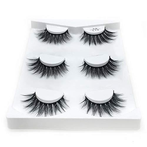Eyelashes, 3 Pairs Reusable Lashes Handmade 3d Mink Lashes Natural Thick Fluffy Flase Eyelashes